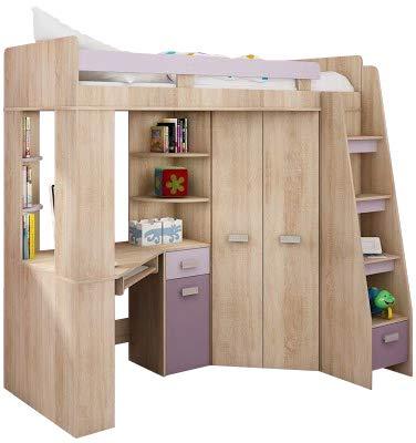 Lit Mezzanine Lit Superpose Tout En Un Escalier A Droite Ensemble Pour Enfants Lit Superpose Bureau Armoire Etageres Chene Sonoma