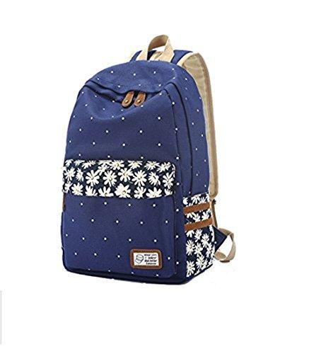 YEAH67886moda stampa floreale casual tela zaino a tracolla per ragazze (blu scuro)