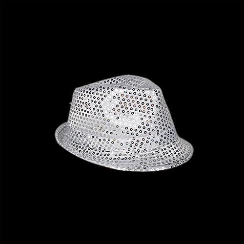 Sequin Fedora Hat (Silver LED Flashing Fedora Hat with Sequins)