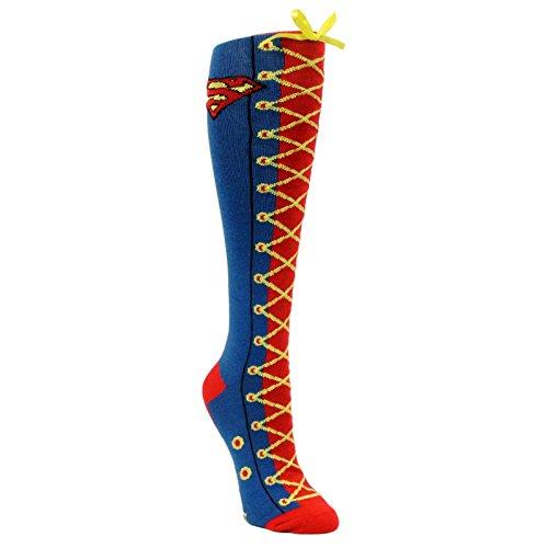 Supergirl Knee High Socks (DC COMICS SUPERMAN SUPERGIRL Faux Lace Up Knee High Boot Socks)