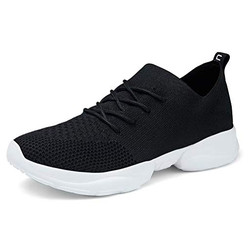 konhill Women's Slip on Sneakers Walking Tennis Casual Sports Sock Comfort Shoes 7.5 US Black, 38 (Best Flats For Pregnancy)