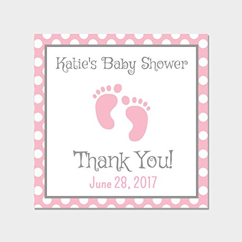 40 Personalized Square Pink Baby Shower Favor Sticker - Pink Baby Feet Favor Labels - Customized Baby Shower Favors