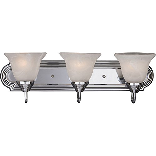 Maxim 8013MRPC Essentials 3-Light Bath Vanity, Polished Chrome Finish, Marble Glass, MB Incandescent Incandescent Bulb , 60W Max., Dry Safety Rating, Standard Dimmable, Metal Shade Material, Rated Lumens