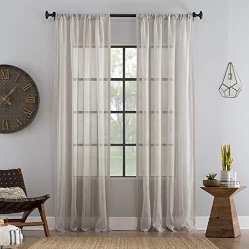 - Archaeo Ticking Stripe Textured Cotton Blend Sheer Curtain, 54