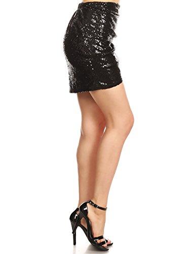 Bodycon Noir Jupe Anna kaci Femme Volants Glitter Paillette Haute Taille Vegas Mini FXRqC