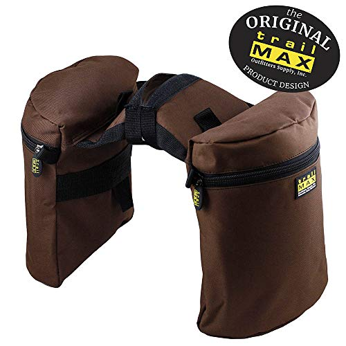 - TrailMax Large Horse Saddle Bags for Trail Riding, Double-Stitched, 600-Denier Weather- & UV-Resistant PVC-Coated Poly, Brown