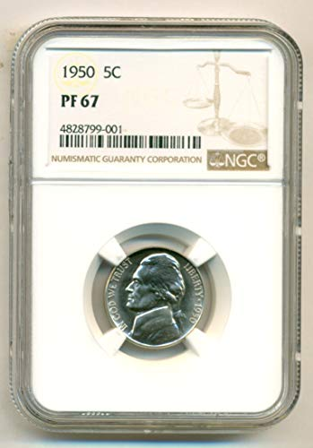(1950 No Mint Mark Jefferson Nickel NGC PF67 )