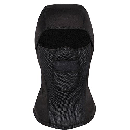 Balaclava Ski Mask,DUZCLI Thicken Thermal Windproof Fleece Face Mask Hat for Cold Weather Winter Skiing, Snowboarding,Motorcycle (Black)