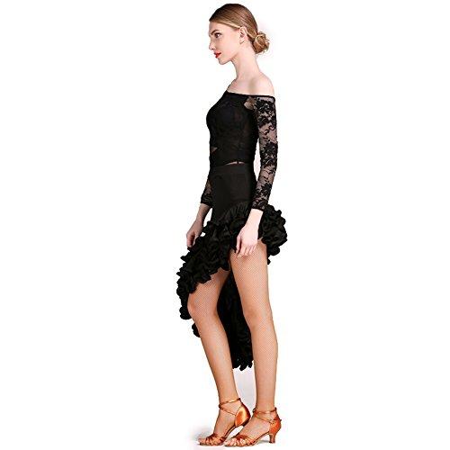 Largas El Falda Mujeres Latino Tango Vestido Conjunto Latina Encaje De Black Baile Para Traje Las Rendimiento Práctica Mangas Profesional Ropa XqOv8wq