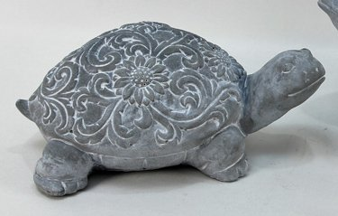 Heart of America Cement Turtle Statue with Floral Etchings