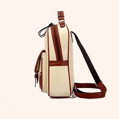 Mochila para mujer de las muchachas de las señoras bolso de hombro del bolso de las mujeres de la manera actual Bolso deslizadizo del color puro lindo retro del estilo japonés Nuevo bolso de hombro de