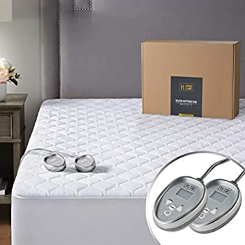 Hyde Lane Premium Cotton Heated Mattress Pad California King Size Dual Control |Electric Bed Warmer | 20 Heat Settings & Auto Shut Off | Relieve Sore Muscles/Joints