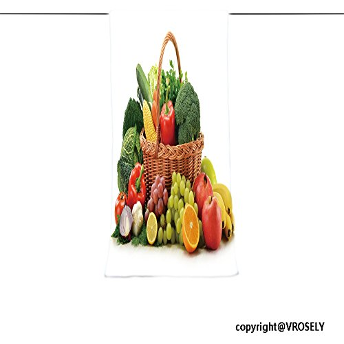 VROSELV Custom Towel Soft and Comfortable Beach Towel-composition with vegetables and fruits in wicker basket isolated on white Design Hand Towel Bath Towels For Home Outdoor Travel Use 7.9