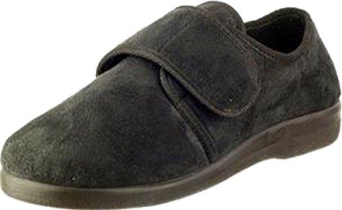 GBS Med Poole Men's Slipper Klettverschluss Gummisohle Freizeit Schuhe schwarz