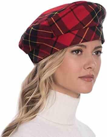 Eric Javits Luxury Fashion Designer Women s Headwear Hat - Tartan Beret -  Red Black 64a92cc53615