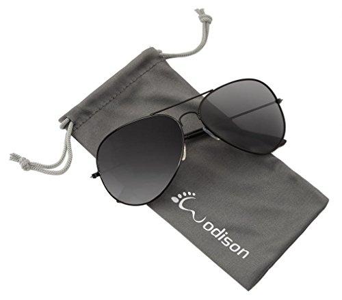 WODISON Vintage Reflective Mirror Lens Metal Frame Aviator Sunglasses Black Frame Smoke - Eyewear Smoke Mirrors And