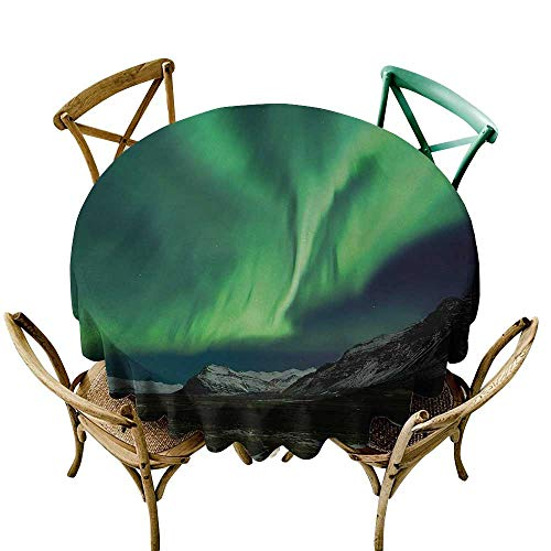 Wendell Joshua Mermaid Tablecloth 36 inch Northern Lights,Flash of Aurora Polaris Above Mountains in Night Picture,Jade and Army Green Blue Grey 100% Polyester Spillproof Tablecloths for Round Tables