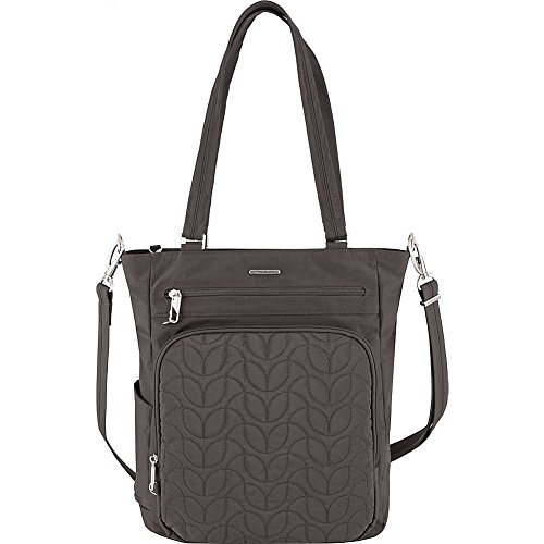 Travelon Anti-Theft Quilted Tote Bag - Fits 15.6 Inch Laptop - (Smoke/Teal Interior)