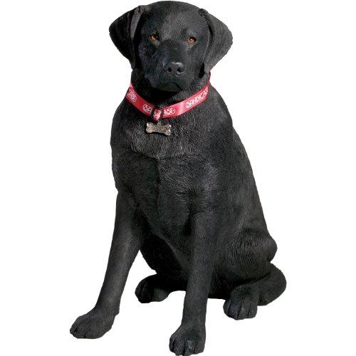 Sandicast Large Life Size Black Labrador Retriever Sculpture, Sitting