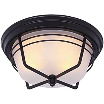 Westinghouse 6230300 Bonneville Two Light Exterior Flush Mount Fixture,  Weathered Bronze Finish On