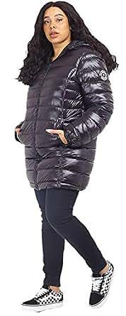 CHOCOLATE PICKLE New Womens Plus Size High Shine Finish Badge Detail Long Hood Puffer Padded Jacket Coats Black 18