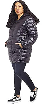 CHOCOLATE PICKLE New Womens Plus Size High Shine Finish Badge Detail Long Hood Puffer Padded Jacket Coats Black 18