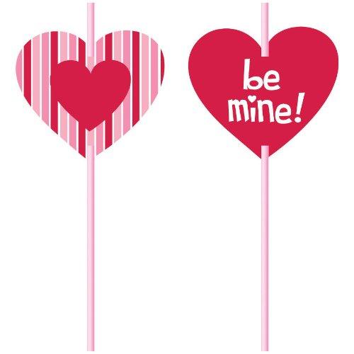 Valentine Heart Straws Paper Insert