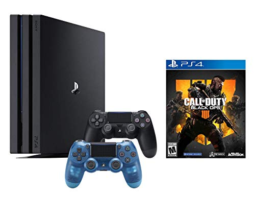 PlayStation 4 Call of Duty Black Ops IIII and 4K HDR PlayStation 4 Pro 1 TB Console with Extra Crystal Blue Dualshock 4 Wireless Controller (Split-Screen Play Available)