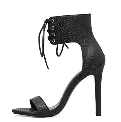 LINYI Damenschuhe Sandalen Künstliche PU Stiletto Heels High Heels Offen Riemchen Black