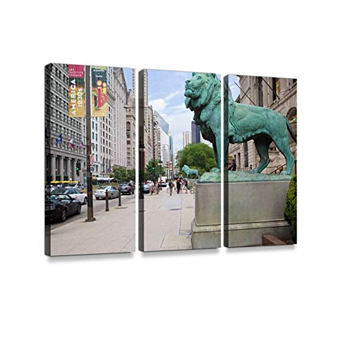 Lions in Front of The Art Institute, Chicago Print On Canvas Wall Artwork Modern Photography Home Decor Unique Pattern Stretched and Framed 3 Piece (Famous Paintings In The Chicago Art Institute)