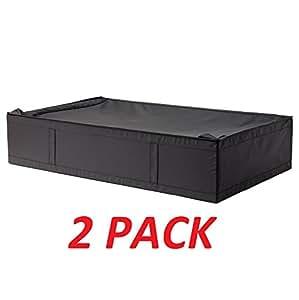 ikea skubb underbed storage box black 2 pack home kitchen. Black Bedroom Furniture Sets. Home Design Ideas
