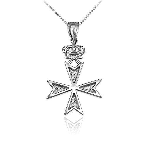 (14K White Gold Maltese Cross Crown Charm Necklace (18))