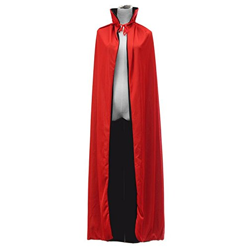 JUIOKK 140cm Halloween Bloodsucker Mantle Zombie Cape Witch Villian Magician Cosplay Costume Dress Double Side Jacket For Men and Women