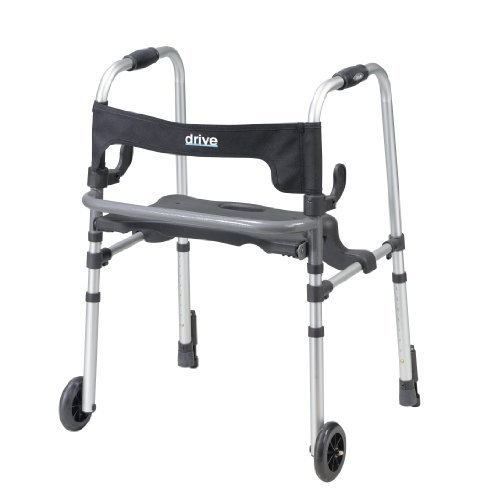 Rollator Push Down Brake (Drive Medical Clever-Lite LS Rollator Walker with Seat and Push Down Brakes, Gray by Drive Medical)