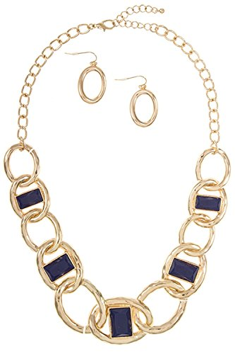 Trendy Fashion Jewelry Round Link Chain with Acrylic Accent Stone Necklace Set By Fashion Destination | (Navy Blue)
