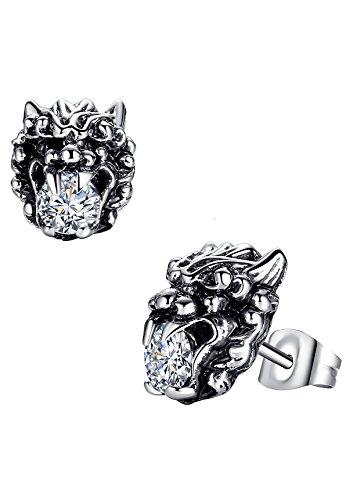 Boucles d'oreilles en acier inoxydable, Hommes, Lion avec rond zircone cubique