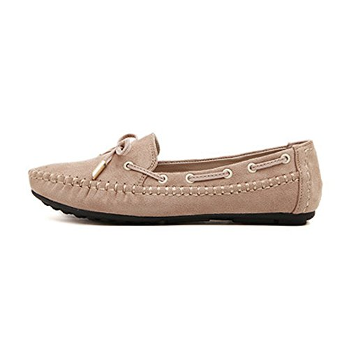 T-july Femmes Mocassins Chaussures Casual Mocassin Conduite Slip-on Bowknot Daim Confortable Plat Abricot