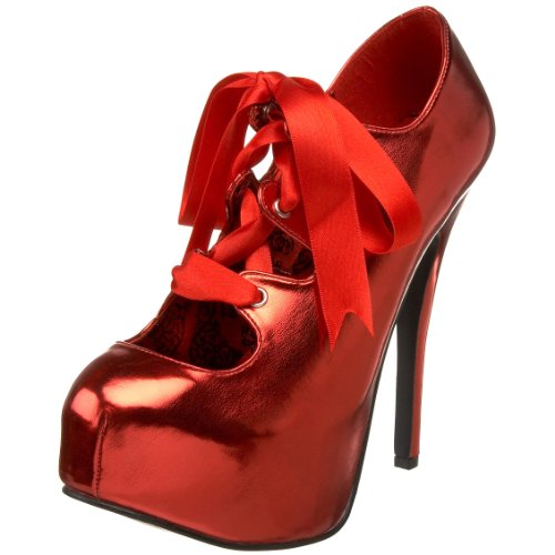 Bordello - zapatos de tacón mujer, color rojo, talla Pleaser UK (4) US (7) EU (37)