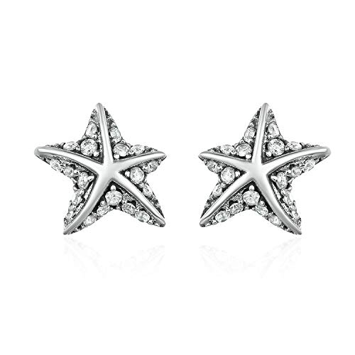 (925 Sterling Silver Star Tropical Starfish Stud Earrings for Women, Clear CZ Fashion Jewelry)