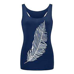 HebeTop Women's Feather Print Long Vest Sleeveless Shirt Fashion Loose Tank Tops