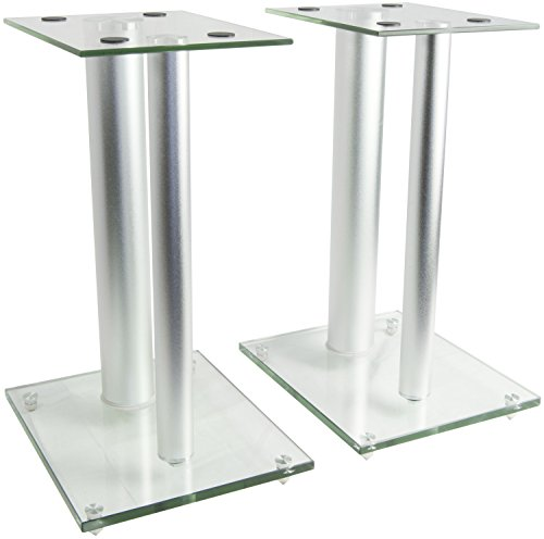 VIVO Premium Universal Floor Speaker Stands Dual Pillar for Surround Sound & Book Shelf Speakers (STAND-SP01S) - Six Shelf Audio Stand