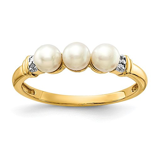 (14k Yellow Gold Diamond and FW Cultured Pearl Engagement Ring (0.01CT))