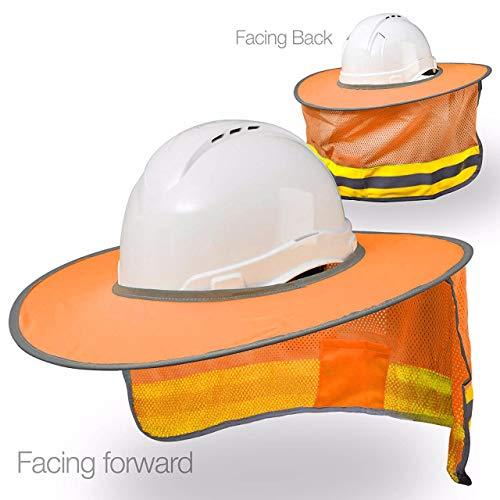 Hard Hat Sun Shield - High Visibility, Reflective, Full Brim Mesh Sun Shade -