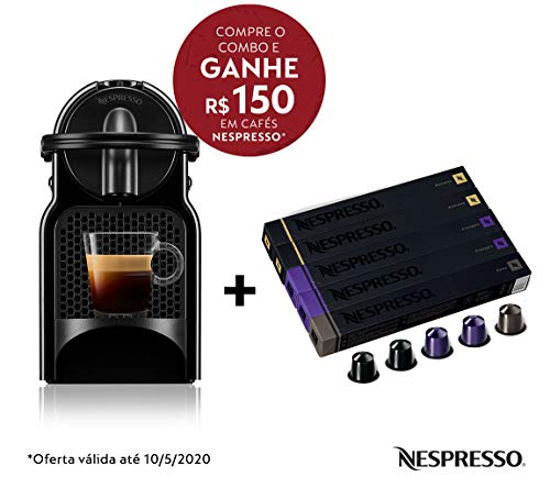 Cafeteira Nespresso Inissia Preta 220V e Seleção Intensos 50 cápsulas de café