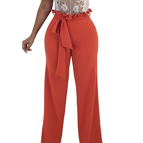 Ai moichien Taille Femmes Capri Lien Haute Avec Orange Pallazo Pantalons PP6wqr