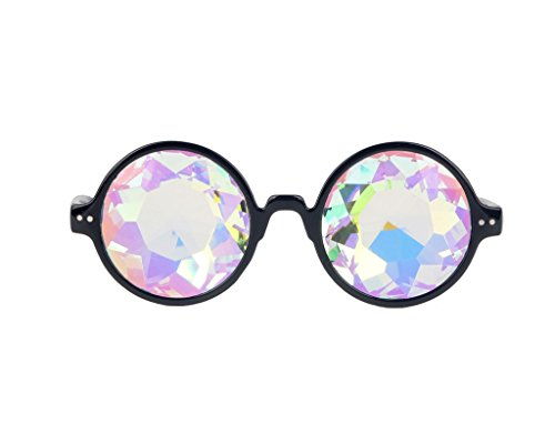 Careonline Black/Pink Kaleidoscope Glasses Rainbow Prism Refraction Rave Party - Pilot Between Aviator Difference Sunglasses And