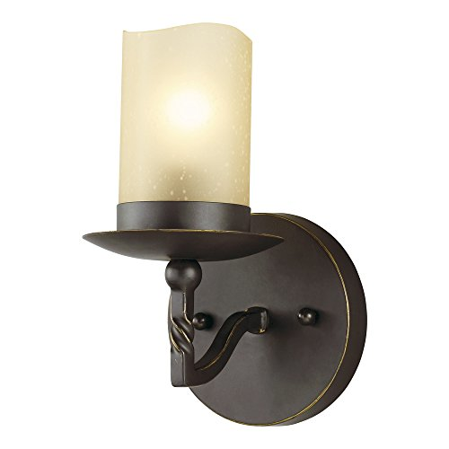 Sea Gull Lighting 4110601-191 Trempealeau One-Light Bath or Wall Sconce with Champagne Seeded Glass, Roman Bronze ()