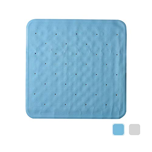 VEEYOO Non-Slip Bath Mat for Tub, Natural Rubber Shower Mat, Anti-Bacterial Bath Tub Mat, Non-Toxic (PVC & BPA Free), 22 x 22Inch, Blue