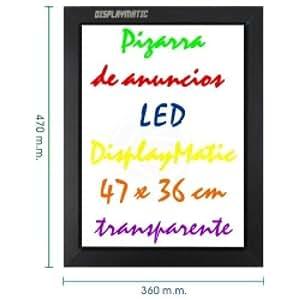 Cablematic - Pizarra de LED de DisplayMatic de 47 x 36 cm transparente