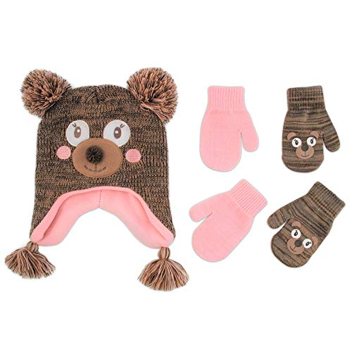ABG Accessories Assorted Critter Designs Hat and 2 Pair Gloves or Mittens Cold Weather Set, Little Girls Ages 2-7 (Bear Design - Age 2-4 Mittens Set)